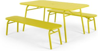 An Image of MADE Essentials Tice Garden Dining Bench Set, Chartreuse
