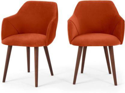 An Image of Set of 2 Lule Carver Dining Chairs, Flame Orange Velvet