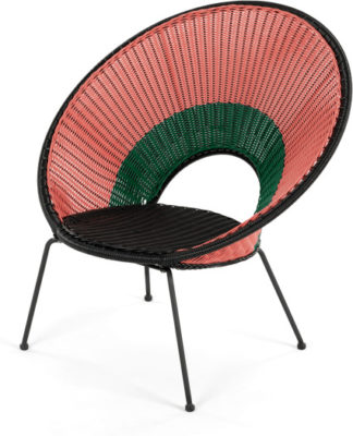 An Image of Yuri Garden Lounge Chair, Multi Woven Pink