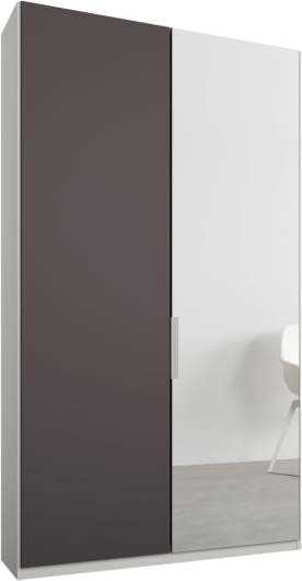 An Image of Caren 2 door 100cm Hinged Wardrobe, White Frame, Matt Graphite Grey & Mirror Doors, Premium Interior