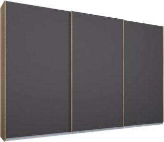 An Image of Malix 3 door 270cm Sliding Wardrobe, Oak frame,Matt Graphite Grey doors, Standard Interior