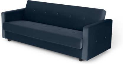An Image of Chou Click Clack Sofa Bed with Storage, Sapphire Blue Velvet