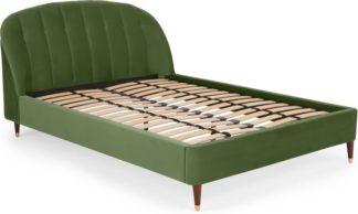 An Image of Margot Double Bed, Meadow Green Velvet