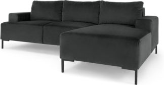 An Image of Frederik 3 Seater RHF Compact Corner Chaise End Sofa, Midnight Grey Velvet