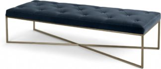 An Image of Julianne Ottoman, Navy Cotton Velvet