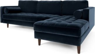 An Image of Scott 4 Seater Right Hand Facing Chaise End Corner Sofa, Navy Cotton Velvet