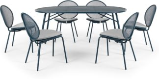An Image of Toluka Garden 6 Seat Dining Table Set, Dark Blue