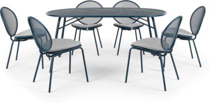 An Image of Toluka Garden 6 Seat Dining Table Set, Dark Blue