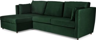 An Image of Milner Left Hand Facing Corner Storage Sofa Bed with Memory Foam Mattress, Bottle Green Velvet