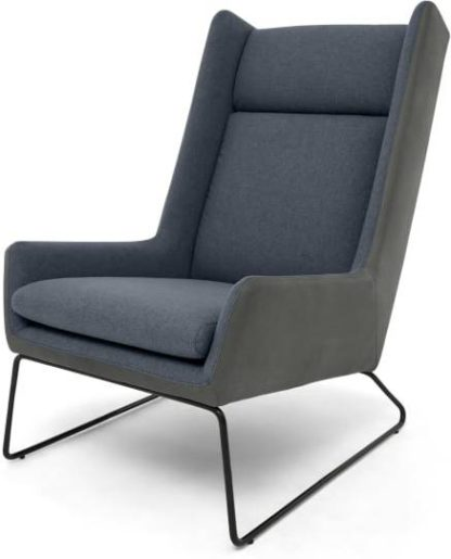 An Image of Hicks Wing Back Armchair, Anthracite Grey Leather with Iris Blue Fabric