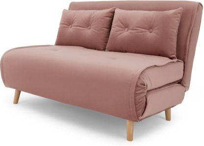 An Image of Haru Small Sofa Bed, Vintage Pink Velvet