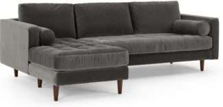 An Image of Scott 4 Seater Left Hand Facing Chaise End Corner Sofa, Concrete Cotton Velvet