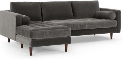 An Image of Scott 4 Seater Left Hand Facing Chaise End Corner Sofa, Concrete Cotton Velvet