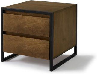 An Image of Rena 2 Drawer Bedside table, Mango Wood & Black