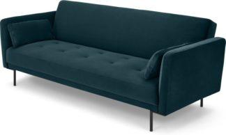 An Image of Harlow Click Clack Sofa Bed, Steel Blue Velvet