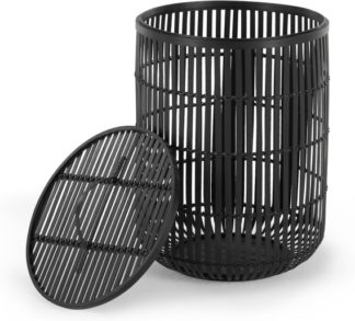 An Image of Kurino Bamboo Laundry Basket with Lid, Black