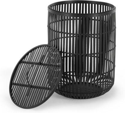 An Image of Kurino Bamboo Laundry Basket with Lid, Black