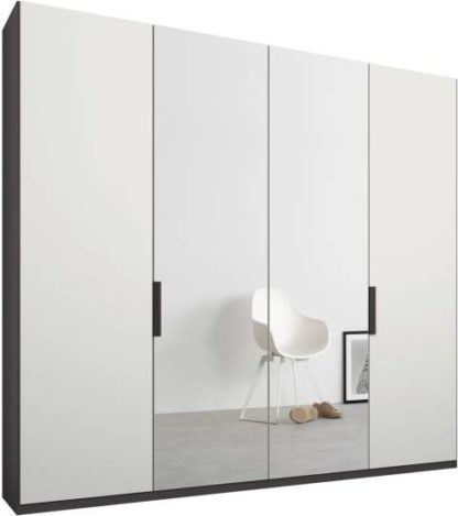 An Image of Caren 4 door 200cm Hinged Wardrobe, Graphite Grey Frame, Matt White & Mirror Doors, Classic Interior