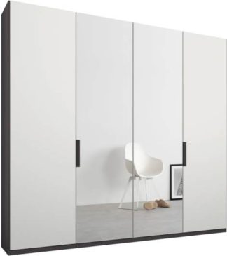 An Image of Caren 4 door 200cm Hinged Wardrobe, Graphite Grey Frame, Matt White & Mirror Doors, Standard Interior