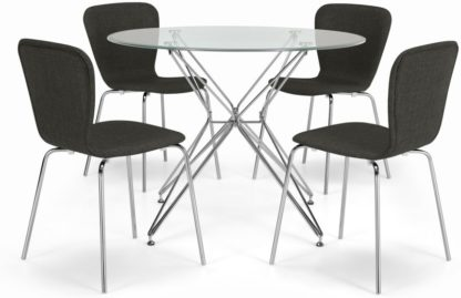 An Image of Belden Dining Table and 4 Upholstered Chair Set, Chrome and Grey