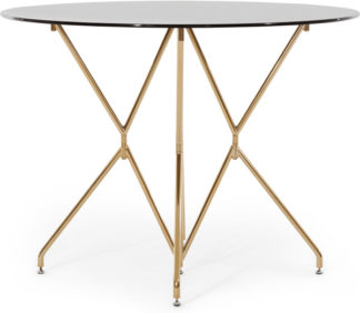 An Image of Dashiel Round Dining Table, Smoked Glass and Brass