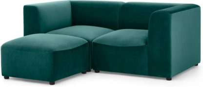 An Image of Juno 2 Seater Sofa with Footstool, Seafoam Blue Velvet