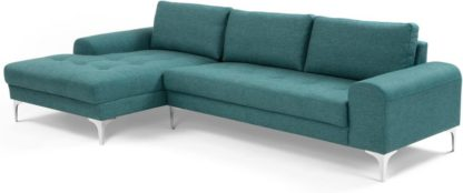 An Image of Vittorio Left Hand Facing Chaise End Corner Sofa, Teal