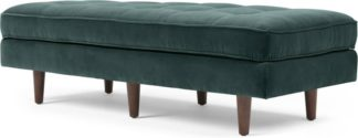 An Image of Scott Ottoman Bench, Petrol Cotton Velvet