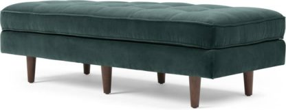 An Image of Scott Ottoman Bench, Petrol Cotton Velvet