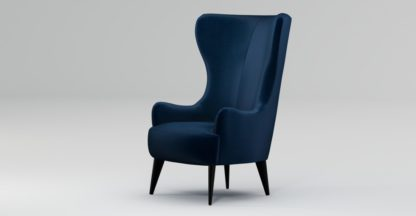 An Image of Custom MADE Bodil Accent Chair, Regal Blue Velvet with Black Wood Leg