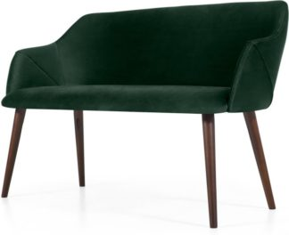 An Image of Lule Compact Dining Bench, Pine Green Velvet