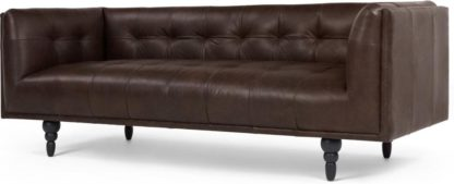 An Image of Connor 3 Seater Sofa, Vintage Brown Premium Leather
