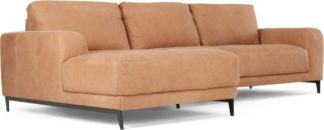 An Image of Luciano Left Hand Facing Chaise End Corner Sofa, Tan Leather
