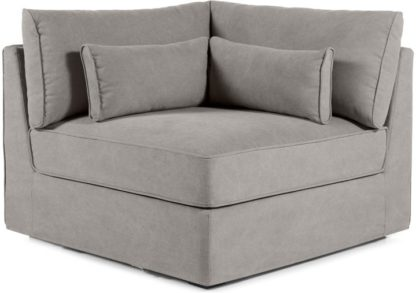An Image of Trent Loose Cover Modular Corner Seat, Washed Grey Cotton