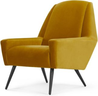 An Image of Roco Accent Armchair, Old Gold Velvet