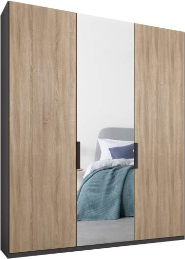 An Image of Caren 3 door 150cm Hinged Wardrobe, Graphite Grey Frame, Oak & Mirror Doors, Classic Interior