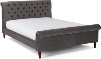 An Image of Orkney Kingsize Bed, Smoke Grey Velvet