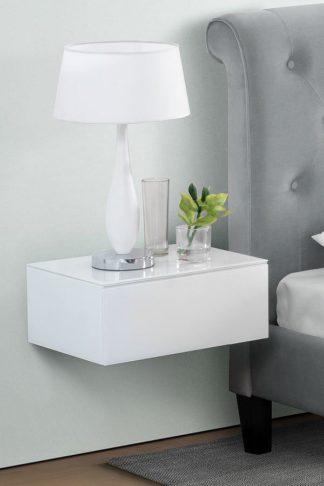 An Image of Inga White Floating Bedside Table / Shelf / Storage System
