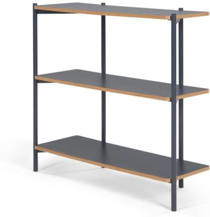 An Image of MADE Essentials Mino Wide Shelves, Grey