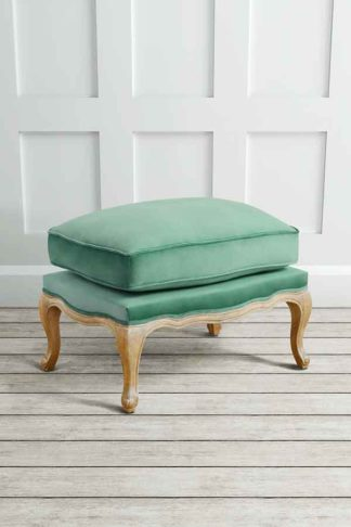 An Image of Le Notre French Vintage Style Shabby Chic Oak Stool Jade
