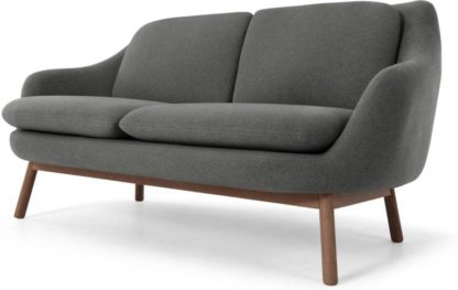 An Image of Oslo 2 Seater Sofa, Marl Grey with Dark Stained Oak Legs