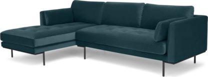 An Image of Harlow Left Hand Facing Chaise End Corner Sofa, Steel Blue Velvet