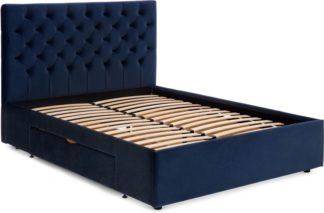 An Image of Skye King Size Bed with Storage Drawers, Royal Blue Velvet