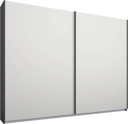An Image of Malix 2 door 225cm Sliding Wardrobe, Graphite Grey frame,Matt White doors, Standard Interior