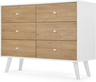 An Image of Made Essentials Larsen Wide Chest Of Drawers, Oak Effect and White