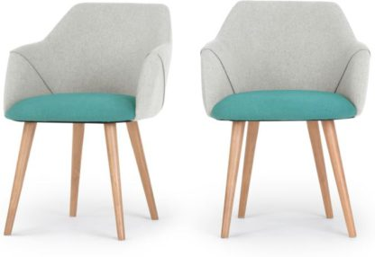 An Image of Set of 2 Lule Carver Dining Chairs, Emerald Green and Hail Grey