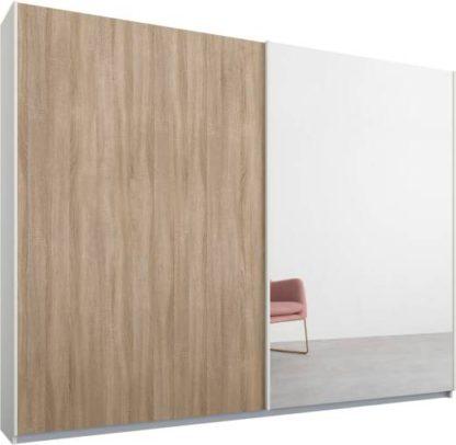 An Image of Malix 2 door 225cm Sliding Wardrobe, White frame,Oak & Mirror doors , Premium Interior