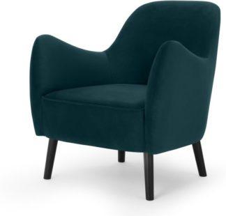 An Image of Davis Accent Armchair, Lagoon Blue Velvet
