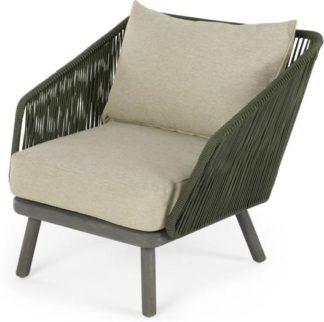 An Image of Alif Garden Armchair, Green and Grey Eucalyptus