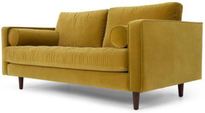 An Image of Scott Large 2 Seater Sofa, Gold Cotton Velvet